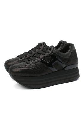 Женские кожаные кроссовки maxi platform HOGAN черного цвета, арт. HXW2830T5480UG   Фото 1