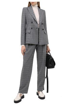 Женские шерстяные брюки EMPORIO ARMANI серого цвета, арт. 9NP14T/92108   Фото 2