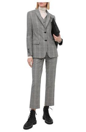 Женские шерстяные брюки BURBERRY серого цвета, арт. 8031152 | Фото 2