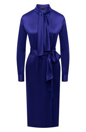 Женское платье TOM FORD синего цвета, арт. AB2868-FAX727 | Фото 1 (Материал внешний: Вискоза, Синтетический материал; Длина Ж (юбки, платья, шорты): Миди; Рукава: Длинные; Женское Кросс-КТ: Платье-одежда; Стили: Романтичный; Случай: Вечерний)