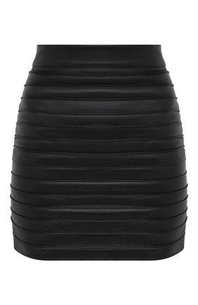 Женская кожаная юбка ALESSANDRA RICH черного цвета, арт. FAB2273-L3035 | Фото 1