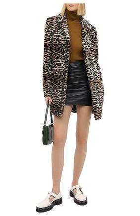 Женская кожаная юбка ALESSANDRA RICH черного цвета, арт. FAB2273-L3035 | Фото 2