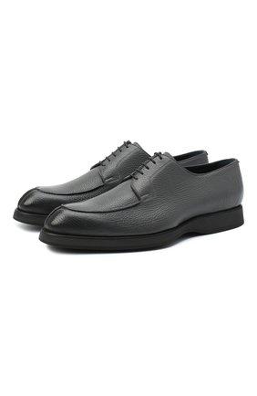 Мужской кожаные дерби BRIONI темно-серого цвета, арт. QE2A0L/P7731 | Фото 1
