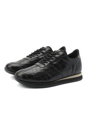 Мужские кожаные кроссовки jimi running GIUSEPPE ZANOTTI DESIGN черного цвета, арт. IU00030/001 | Фото 1