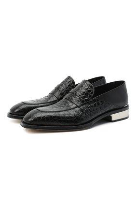 Мужские кожаные пенни-лоферы ALEXANDER MCQUEEN черного цвета, арт. 627214/WHYE1 | Фото 1