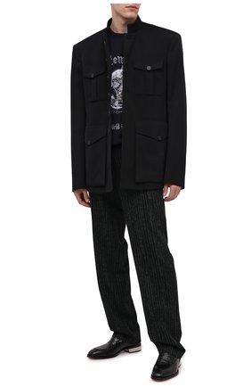 Мужские кожаные пенни-лоферы ALEXANDER MCQUEEN черного цвета, арт. 627214/WHYE1 | Фото 2