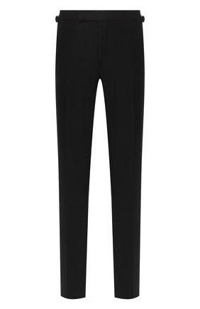 Мужские шерстяные брюки TOM FORD черного цвета, арт. Q31R13/610043 | Фото 1 (Материал подклада: Купро; Материал внешний: Шерсть; Длина (брюки, джинсы): Стандартные; Стили: Классический; Случай: Формальный)
