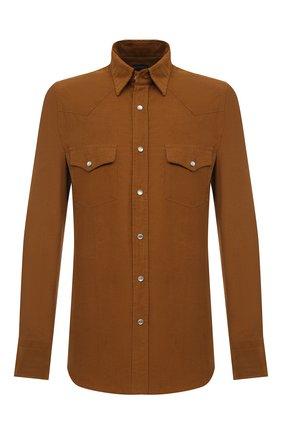 Мужская хлопковая рубашка TOM FORD коричневого цвета, арт. 8FT876/94MEKI | Фото 1