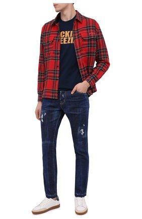 Мужская хлопковая футболка DSQUARED2 темно-синего цвета, арт. S79GC0007/S23009 | Фото 2