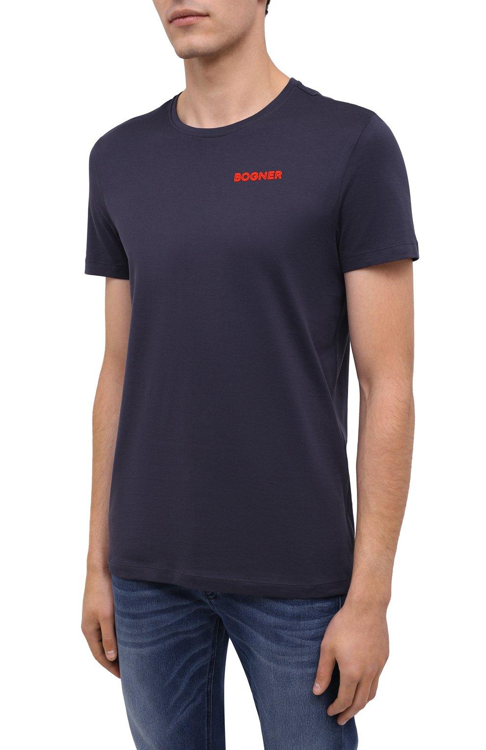 Мужская хлопковая футболка BOGNER темно-синего цвета, арт. 58542724 | Фото 3