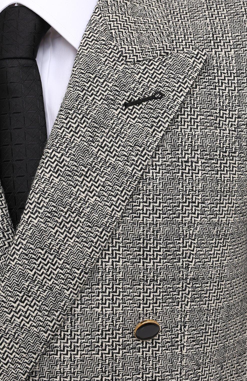 Мужской шерстяной пиджак SAINT LAURENT черно-белого цвета, арт. 630750/Y1B10 | Фото 6