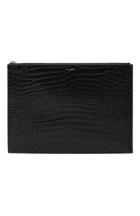 Мужская кожаная папка для документов SAINT LAURENT черного цвета, арт. 530013/DZE0E | Фото 1