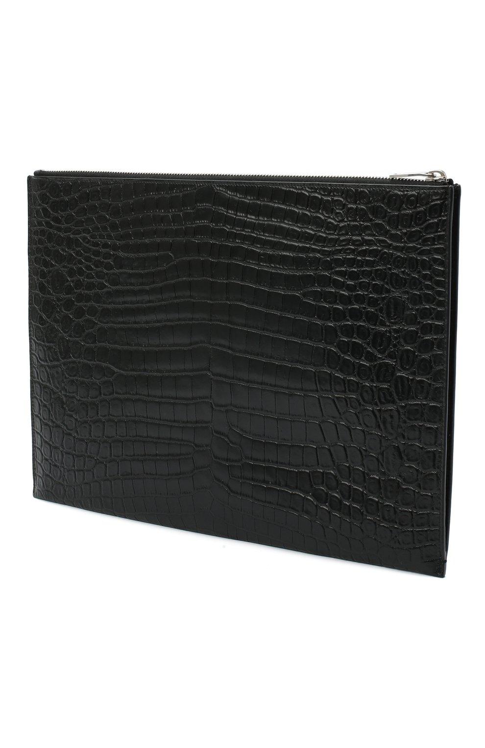 Мужская кожаная папка для документов SAINT LAURENT черного цвета, арт. 530013/DZE0E | Фото 3