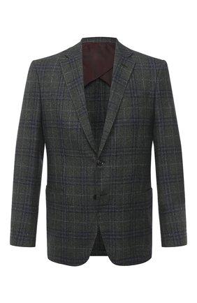 Мужской пиджак из шерсти и шелка LUCIANO BARBERA темно-зеленого цвета, арт. 111A25PEL1/18124   Фото 1