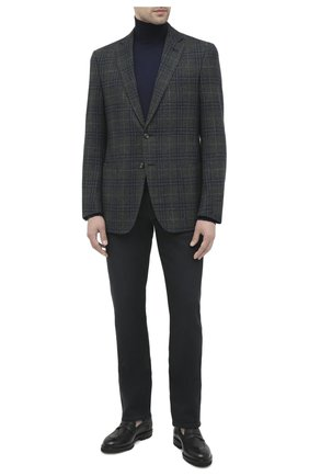 Мужской пиджак из шерсти и шелка LUCIANO BARBERA темно-зеленого цвета, арт. 111A25PEL1/18124   Фото 2