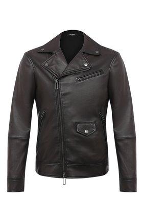 Мужская кожаная куртка EMPORIO ARMANI темно-коричневого цвета, арт. 91B55P/91P55 | Фото 1