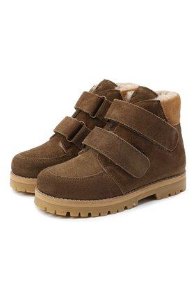 Детские кожаные ботинки PETIT NORD коричневого цвета, арт. 2536/28-35 | Фото 1