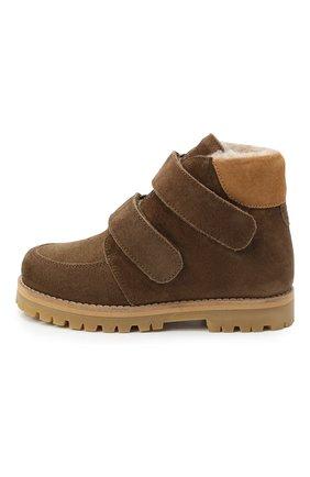Детские кожаные ботинки PETIT NORD коричневого цвета, арт. 2536/28-35 | Фото 2