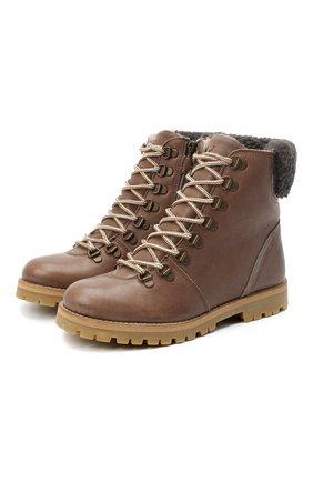 Детские кожаные ботинки PETIT NORD коричневого цвета, арт. 2531/36-40 | Фото 1