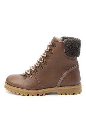 Детские кожаные ботинки PETIT NORD коричневого цвета, арт. 2531/36-40 | Фото 2