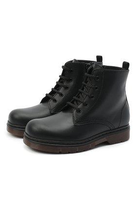 Детские кожаные ботинки IL GUFO черного цвета, арт. G389/VITELL0/27-30   Фото 1