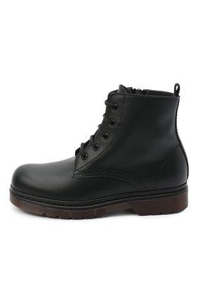 Детские кожаные ботинки IL GUFO черного цвета, арт. G389/VITELL0/27-30   Фото 2