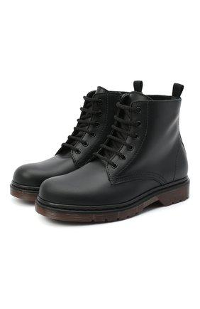 Детские кожаные ботинки IL GUFO черного цвета, арт. G389/VITELL0/31-34   Фото 1