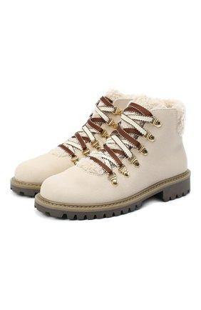 Детские замшевые ботинки IL GUFO бежевого цвета, арт. G418/VIT. 0RLAND0C0L0RS/31-34 | Фото 1