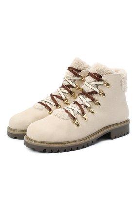 Детские замшевые ботинки IL GUFO бежевого цвета, арт. G418/VIT. 0RLAND0C0L0RS/35-42 | Фото 1