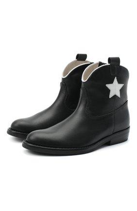 Детские кожаные ботинки IL GUFO черного цвета, арт. G474/VITELL0/27-30 | Фото 1
