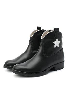 Детские кожаные ботинки IL GUFO черного цвета, арт. G474/VITELL0/31-34 | Фото 1