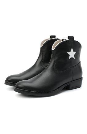 Детские кожаные ботинки IL GUFO черного цвета, арт. G474/VITELL0/35-42 | Фото 1