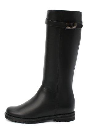 Детские кожаные сапоги IL GUFO черного цвета, арт. G500/VITELL0/27-30 | Фото 2