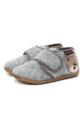 Детского домашние ботинки NATURINO серого цвета, арт. 0014000627/01/24-26 | Фото 1 (Материал внешний: Текстиль; Материал внутренний: Текстиль, Натуральная кожа; Кросс-КТ: велькро)