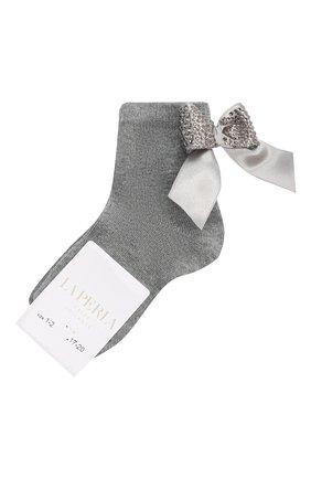 Детские хлопковые носки LA PERLA серого цвета, арт. 47049/1-2 | Фото 1