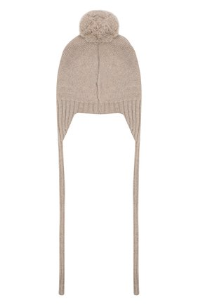 Детского шерстяная шапка BABY T бежевого цвета, арт. 20AI164CU | Фото 2