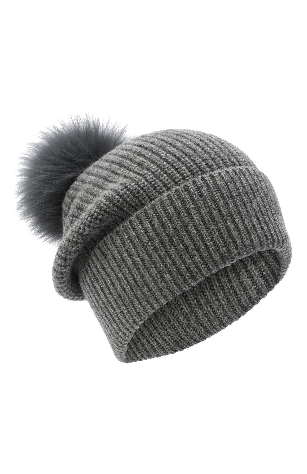 Детского кашемировая шапка с меховой отделкой YVES SALOMON ENFANT серого цвета, арт. 20WEA500XXCARD | Фото 1