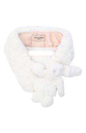 Детский меховой шарф YVES SALOMON ENFANT белого цвета, арт. 21WEA703XXREXX   Фото 1