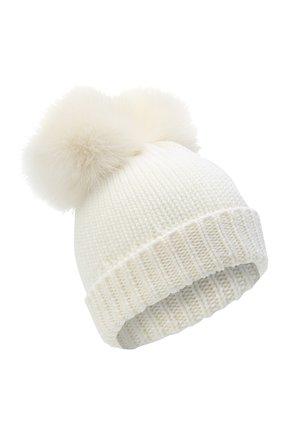 Детского шерстяная шапка с меховыми помпонами WOOLRICH белого цвета, арт. CFWKAC0078FR/UF0096 | Фото 1