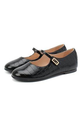 Детские кожаные туфли FENDI черного цвета, арт. JFR321/TC3/27-31 | Фото 1