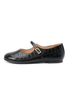 Детские кожаные туфли FENDI черного цвета, арт. JFR321/TC3/27-31 | Фото 2