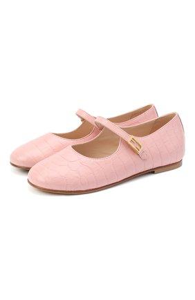 Детские кожаные туфли FENDI розового цвета, арт. JFR321/TC3/32-39 | Фото 1