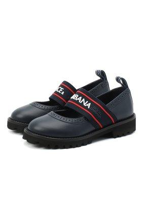 Детские кожаные туфли DOLCE & GABBANA синего цвета, арт. D10960/AW087/29-36 | Фото 1