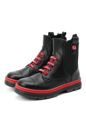 Детские кожаные ботинки DOLCE & GABBANA черного цвета, арт. D10969/A1889/24-28 | Фото 1