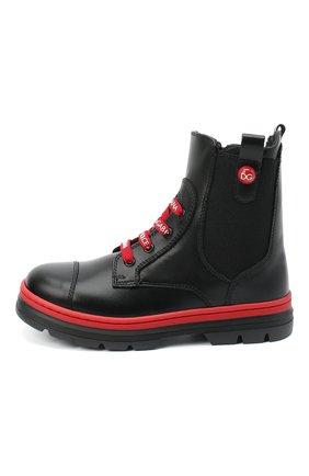 Детские кожаные ботинки DOLCE & GABBANA черного цвета, арт. D10969/A1889/24-28 | Фото 2