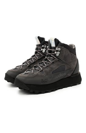 Мужские комбинированные ботинки ACNE STUDIOS темно-серого цвета, арт. BD0125 | Фото 1