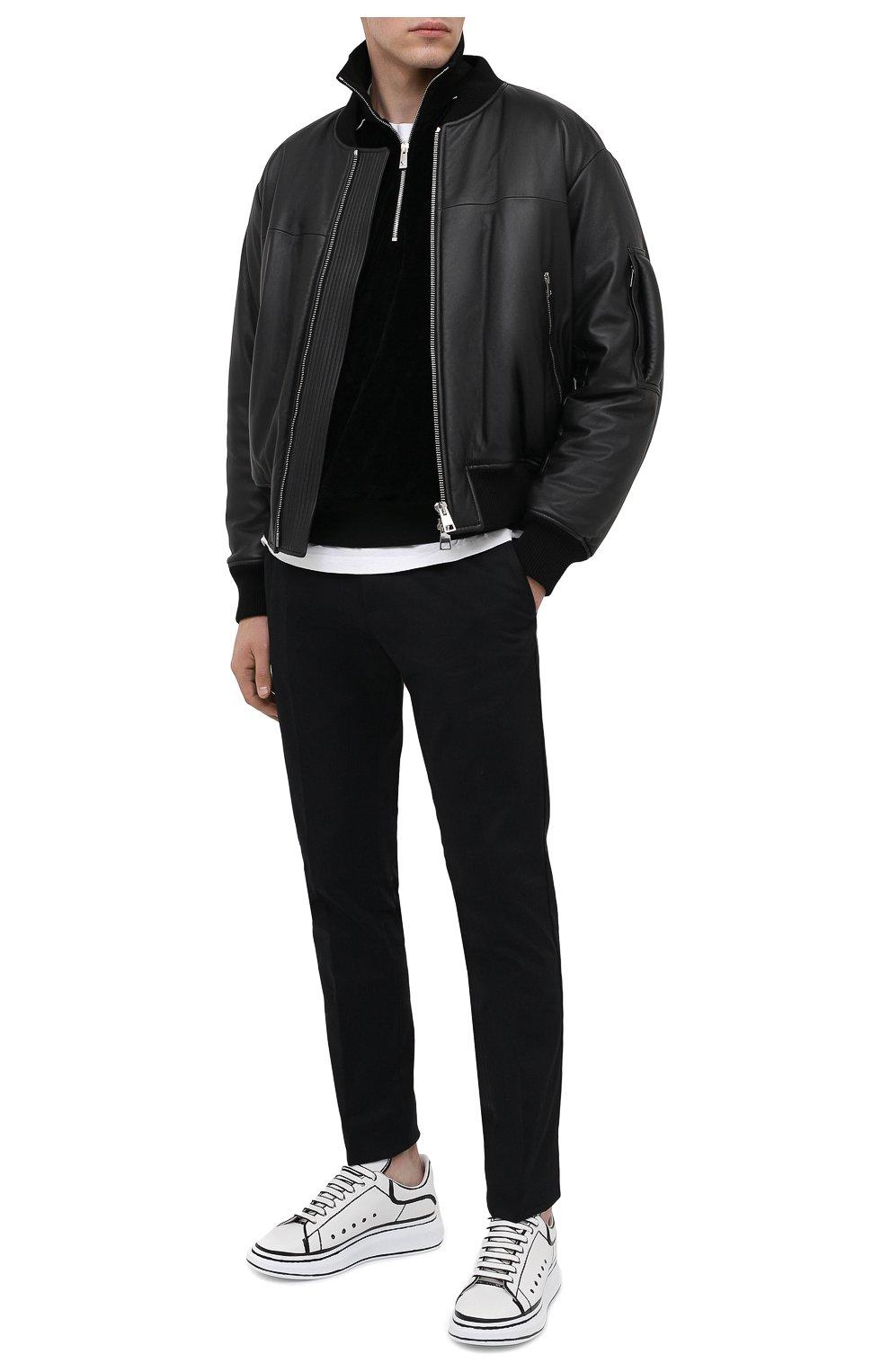 Мужские кожаные кеды ALEXANDER MCQUEEN черно-белого цвета, арт. 627867/WHYBI | Фото 2