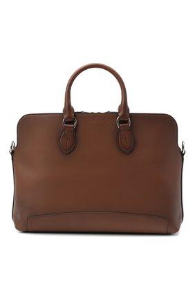 Мужская кожаная сумка для ноутбука RALPH LAUREN коричневого цвета, арт. 437823694 | Фото 1