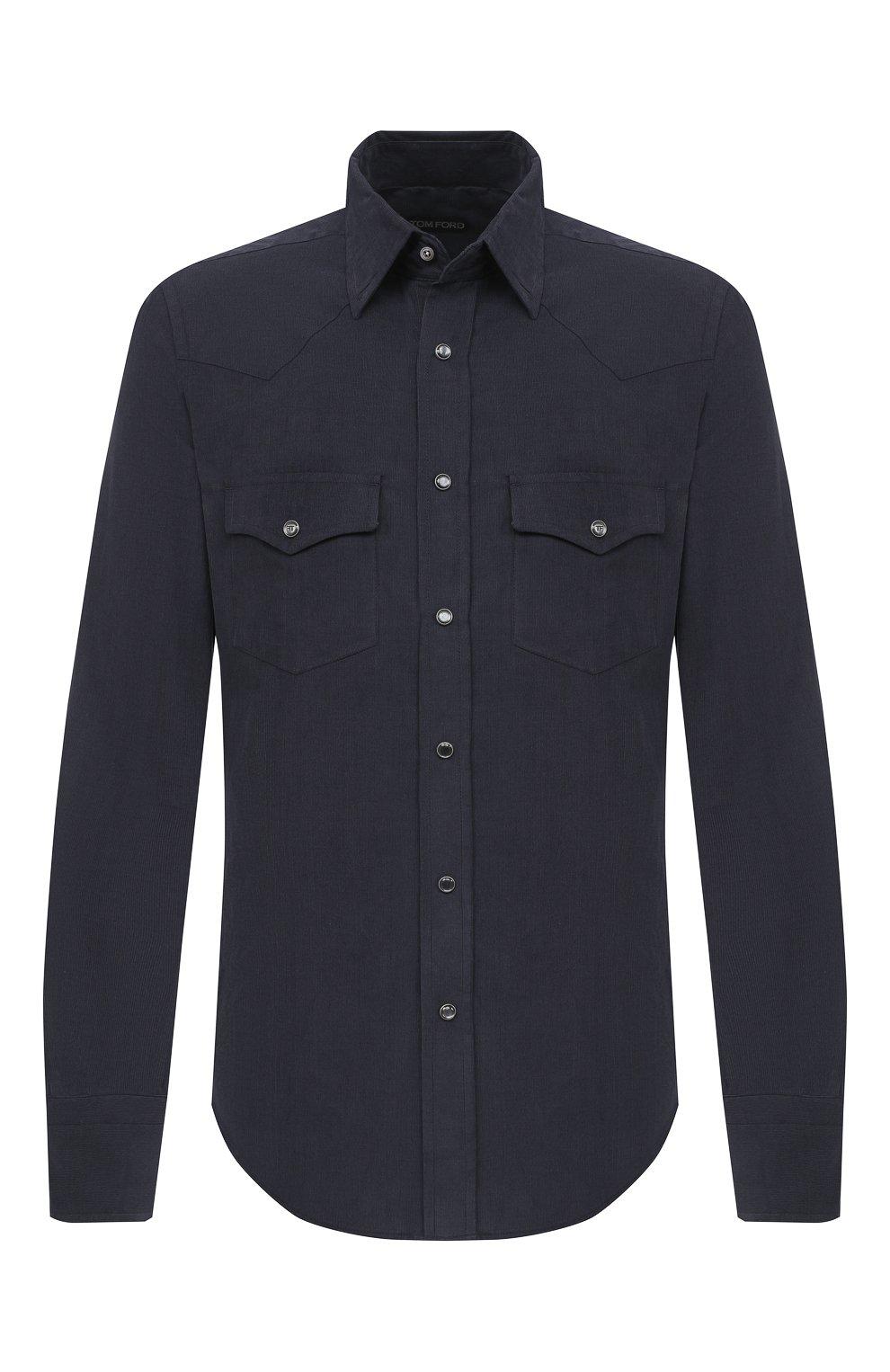 Мужская хлопковая рубашка TOM FORD синего цвета, арт. 8FT875/94MEKI | Фото 1