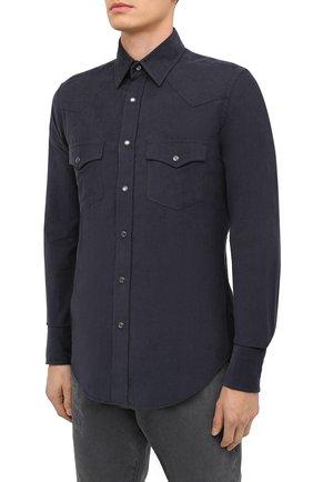 Мужская хлопковая рубашка TOM FORD синего цвета, арт. 8FT875/94MEKI | Фото 3